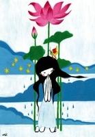蓮の花と女性