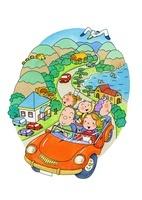ドライブする三世代家族