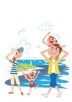 海辺を散歩する家族 宮崎県青島日南海岸鬼の洗濯板