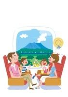 新幹線で旅行する家族 鹿児島桜島