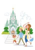 長崎県平戸市 ザビエル記念聖堂と家族