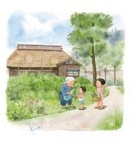 農家のおばあちゃんと子供達