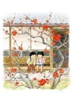 梅が咲く縁側で本を読む女の子2人