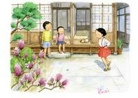 庭で遊ぶ女の子