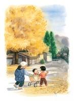 散歩するおばあちゃんと子供達