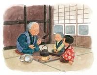 囲炉裏でおばあちゃんの話を聞く子供達