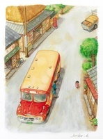 町を走るレトロなバス
