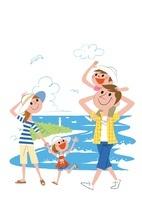 海を散歩する家族