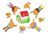 住宅と三世代家族 22276007256| 写真素材・ストックフォト・画像・イラスト素材|アマナイメージズ
