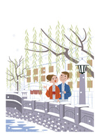 雪降る温泉街で散歩する夫婦