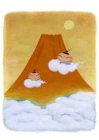 子供と富士山と初日の出