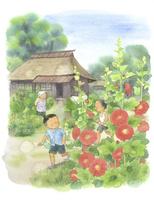 虫取りに行く子供たちと見送るおばあちゃん 22276007365| 写真素材・ストックフォト・画像・イラスト素材|アマナイメージズ