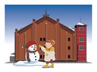 赤レンガ倉庫の前で遊ぶ子供と雪だるま