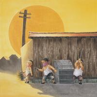 夕日の板塀 22276007547| 写真素材・ストックフォト・画像・イラスト素材|アマナイメージズ