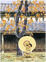 柿の木と番傘 22276007556| 写真素材・ストックフォト・画像・イラスト素材|アマナイメージズ