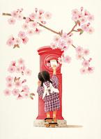 赤いポストと桜