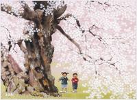 中曽根の権現桜桜だワーイ 22276007570| 写真素材・ストックフォト・画像・イラスト素材|アマナイメージズ