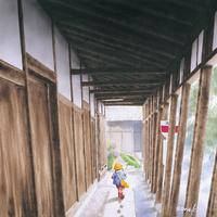 雨の雁木通り 22276007597| 写真素材・ストックフォト・画像・イラスト素材|アマナイメージズ