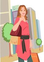 買い物をして街頭に立つ女性 イラスト
