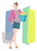 洗濯物の籠を持って立つ女性 イラスト