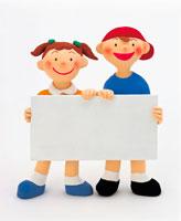 ホワイトボードを持つ子供 イラスト