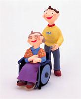 車椅子のおばあちゃんと少年 イラスト