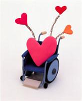車椅子とハート イラスト