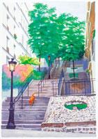 外国の町 水彩画