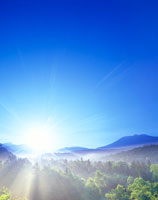 朝の林とトムラウシ山方向の山並み