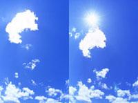 わた雲から出る太陽