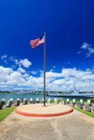 アメリカ国旗と潜水艦バウフィン