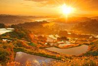 峠の棚田と朝日