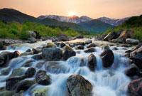 夕日と北アルプスと松川
