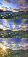 千曲公園から望む千曲川と上田市街と上田原古戦場と朝日