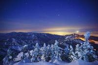 黎明の横手山の樹氷群と長野市方向の山並み