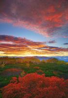 朝焼けの乗鞍岳位ヶ原の紅葉と八ケ岳方向の山並み 22320040634| 写真素材・ストックフォト・画像・イラスト素材|アマナイメージズ