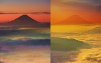 朝の高ボッチ高原から望む富士山と雲海,定点撮影