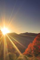 ゼロ磁場の水場付近から望む分杭峠の紅葉の樹林と夕日