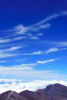 剣ケ峰から望む北方向の雲海とすじ雲と稜線