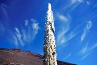 富士宮ルート8合5勺鳥居跡の柱に差し込まれた賽銭