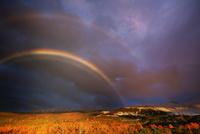 望岳台から望む十勝岳などの山並みと夕方の虹と紅葉の樹林 22320041470| 写真素材・ストックフォト・画像・イラスト素材|アマナイメージズ
