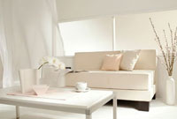 リビングの白いソファー