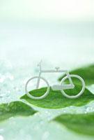 葉に乗る自転車