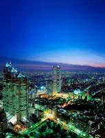 都会の街並みの夜景