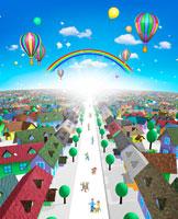 街並みと光と気球と街の人々