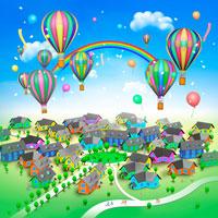 真ん中に公園のある街並みと気球と虹と人々