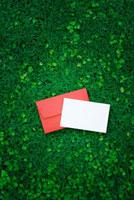 芝生に置かれた白いメッセージカードと赤い封筒
