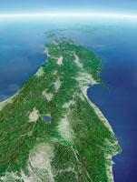 東北地方-衛星画像鳥瞰図