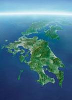 九州地方-衛星画像鳥瞰図