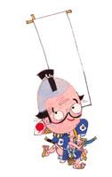 のぼりを掲げるひげの侍 イラスト